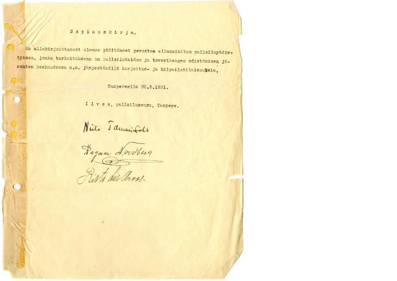 Ilves perustamiskirja 30.5.1931